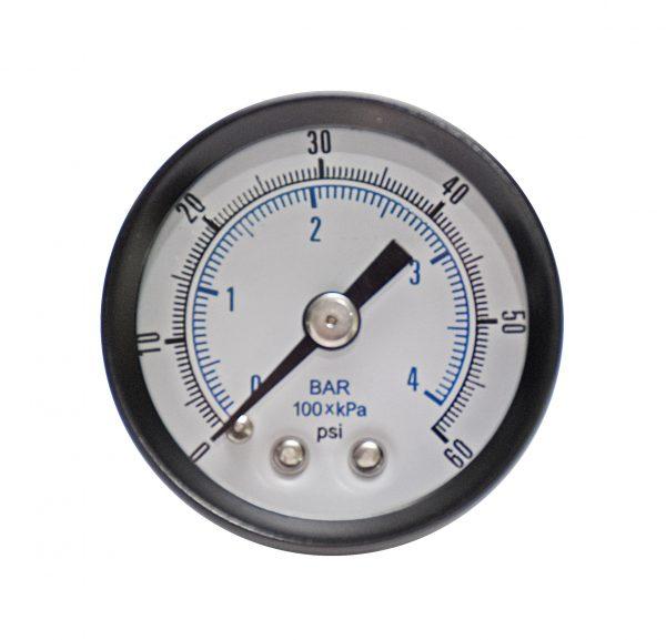 1/4″ NPT, 0-300 PSI (0-27 bar), Brass Pressure Gauge