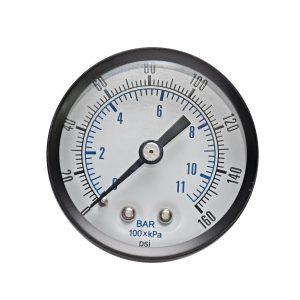 1/8″ BSP, 0-160 PSI (0-11bar), Brass Pressure Gauge
