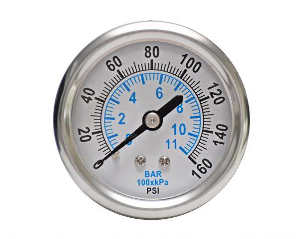 1/4″ NPT, 0-30 PSI (0-2bar), Stainless Steel Pressure Gauge